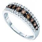 WOMENS BROWN CHAMPAGNE DIAMOND WEDDING BAND RING WHITE GOLD
