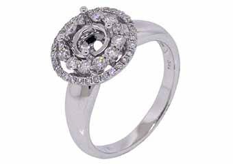 .58 CARAT WOMENS DIAMOND HALO ENGAGEMENT RING SEMI-MOUNT ROUND CUT WHITE GOLD