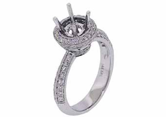 .75 CARAT WOMENS DIAMOND HALO ENGAGEMENT RING SEMI-MOUNT ROUND CUT WHITE GOLD
