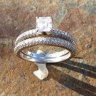 Diamond Engagement Ring Wedding Band Set Micro Pave Asscher Round 14k White Gold
