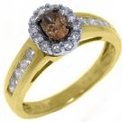 WOMENS  BROWN CHAMPAGNE DIAMOND ENGAGEMENT PROMISE RING OVAL SHAPE
