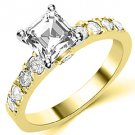 1.6 CARAT WOMENS DIAMOND ENGAGEMENT WEDDING RING ASSCHER CUT SHAPE YELLOW GOLD