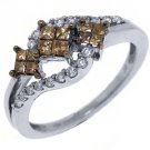 WOMENS  BROWN CHAMPAGNE DIAMOND ENGAGEMENT PROMISE RING 14K WHITE GOLD