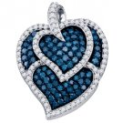 1.05 Carat Blue Diamond Heart Pendant Brilliant Round Cut Micro Pave White Gold