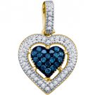 .21 Carat Blue Diamond Heart Pendant Brilliant Round Cut Micro Pave Yellow Gold