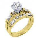 1.5CT WOMENS DIAMOND ENGAGEMENT RING WEDDING BAND BRIDAL SET ROUND YELLOW GOLD