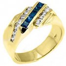 MENS 14KT YELLOW GOLD BLUE SAPPHIRE DIAMOND RING WEDDING BAND PRINCESS BAGUETTE