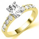 1.6 CARAT WOMENS DIAMOND ENGAGEMENT WEDDING RING OVAL SHAPE YELLOW GOLD