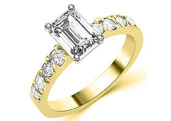 1.6 CARAT WOMENS DIAMOND ENGAGEMENT WEDDING RING EMERALD CUT SHAPE YELLOW GOLD