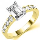 1.6 CARAT WOMENS DIAMOND ENGAGEMENT WEDDING RING EMERALD CUT SHAPE YELLOW GOLD