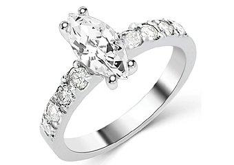 1.6 CARAT WOMENS DIAMOND ENGAGEMENT WEDDING RING MARQUISE CUT SHAPE WHITE GOLD