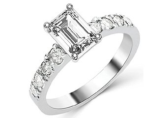 1.6 CARAT WOMENS DIAMOND ENGAGEMENT WEDDING RING EMERALD CUT SHAPE WHITE GOLD