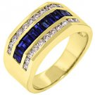 MENS 14KT YELLOW GOLD BLUE SAPPHIRE DIAMOND RING WEDDING BAND BAGUETTE CUT