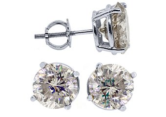 4 CARAT BRILLIANT ROUND CUT DIAMOND STUD EARRINGS 14KT WHITE GOLD