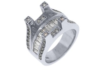 2CT WOMENS DIAMOND ENGAGEMENT RING SEMI-MOUNT TENSION SET BAGUETTE WHITE GOLD