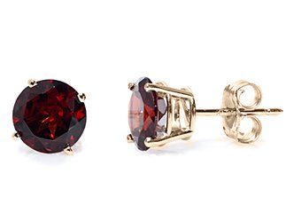 1.2 CARAT GARNET STUD EARRINGS 5mm ROUND 14KT YELLOW GOLD JANUARY BIRTH STONE