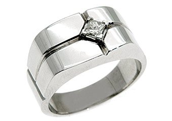 MENS 1/4 CARAT SOLITAIRE ROUND CUT DIAMOND RING WEDDING BAND 14KT WHITE GOLD