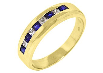 MENS 14KT YELLOW GOLD BLUE SAPPHIRE DIAMOND RING WEDDING BAND PRINCESS