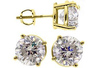 4 CARAT BRILLIANT ROUND CUT DIAMOND STUD EARRINGS 14KT YELLOW GOLD