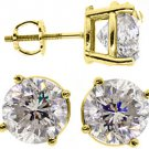 4 CARAT BRILLIANT ROUND CUT DIAMOND STUD EARRINGS 14KT YELLOW GOLD