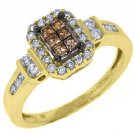 WOMENS  BROWN CHAMPAGNE DIAMOND ENGAGEMENT PROMISE RING 14K YELLOW GOLD