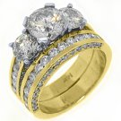4.5 CARAT DIAMOND ENGAGEMENT RING WEDDING BAND BRIDAL SET ROUND CUT YELLOW GOLD