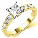 1.6 CARAT WOMENS DIAMOND ENGAGEMENT WEDDING RING PRINCESS SQUARE CUT YELLOW GOLD