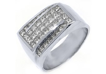 MENS 3.03 CARAT PRINCESS SQUARE CUT DIAMOND RING WEDDING BAND 18KT WHITE GOLD