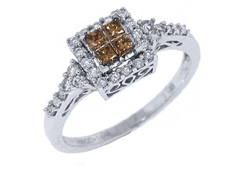 LADIES  BROWN CHAMPAGNE DIAMOND ENGAGEMENT PROMISE RING PRINCESS SQUARE