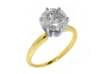 2 CARAT SOLITAIRE BRILLIANT ROUND DIAMOND ENGAGEMENT RING YELLOW GOLD F COLOR