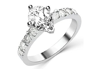 1.6 CARAT WOMENS DIAMOND ENGAGEMENT WEDDING RING PEAR SHAPE WHITE GOLD