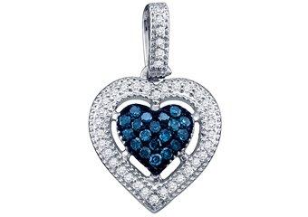 .21 Carat Blue Diamond Heart Pendant Brilliant Round Cut Micro Pave White Gold