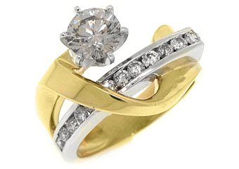 WOMENS 2 CARAT SOLITAIRE ROUND CUT DIAMOND ENGAGEMENT RING TWO TONE YELLOW GOLD