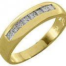 MENS 1 CARAT PRINCESS SQUARE CUT DIAMOND RING WEDDING BAND 14KT YELLOW GOLD