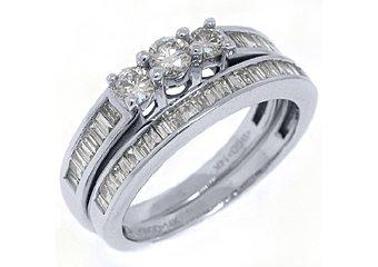 1 CARAT WOMENS DIAMOND ENGAGEMENT RING WEDDING BAND BRIDAL SET ROUND WHITE GOLD