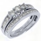 1 CARAT WOMENS DIAMOND ENGAGEMENT RING WEDDING BAND BRIDAL SET ROUND WHITE GOLD