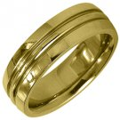 MENS WEDDING BAND ENGAGEMENT RING YELLOW GOLD HIGH GLOSS FINISH 6mm