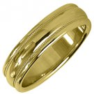 MENS WEDDING BAND ENGAGEMENT RING YELLOW GOLD HIGH GLOSS MILGRAIN 5mm