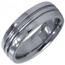 MENS WEDDING BAND ENGAGEMENT RING WHITE GOLD HIGH GLOSS FINISH 6mm