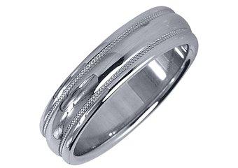 MENS WEDDING BAND ENGAGEMENT RING WHITE GOLD HIGH GLOSS MILGRAIN 5mm
