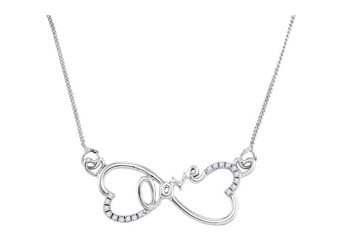 "WOMENS INFINITY HEARTS ""LOVE"" DIAMOND NECKLACE PENDANT 0.10 CARAT SILVER"