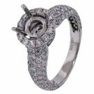 1.41 CARAT WOMENS DIAMOND HALO ENGAGEMENT RING SEMI-MOUNT ROUND CUT WHITE GOLD