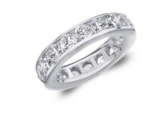 DIAMOND ETERNITY BAND WEDDING RING ROUND CHANNEL SET 14KT WHITE GOLD 4 CARATS