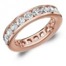 DIAMOND ETERNITY BAND WEDDING RING ROUND CHANNEL SET 14KT ROSE GOLD 3 CARATS