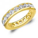 DIAMOND ETERNITY BAND WEDDING RING ROUND CHANNEL SET 14KT YELLOW GOLD 3 CARATS
