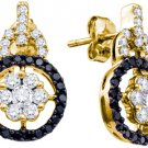 WOMENS 1.09 CARAT BLACK DIAMOND DANGLE EARRINGS ROUND CUT PAVE YELLOW GOLD
