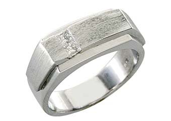 MENS 1/4 CARAT PRINCESS SQUARE CUT DIAMOND RING WEDDING BAND 14KT WHITE GOLD