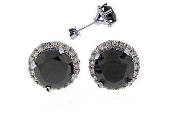 3.5 CARAT BLACK DIAMOND STUD HALO EARRINGS SOLITAIRE ROUND CUT WHITE GOLD