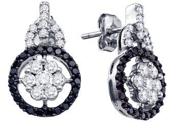 WOMENS 1.09 CARAT BLACK DIAMOND DANGLE EARRINGS ROUND CUT PAVE WHITE GOLD