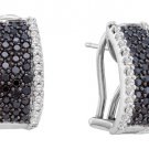 WOMENS 1.52 CARAT BLACK DIAMOND HOOP EARRINGS ROUND CUT PAVE 14KT WHITE GOLD